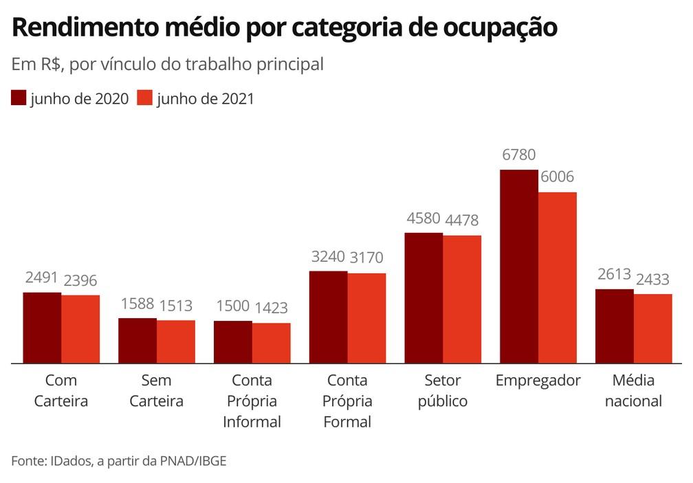 Rendimento médio por categoria de ocupação — Foto: Economia G1